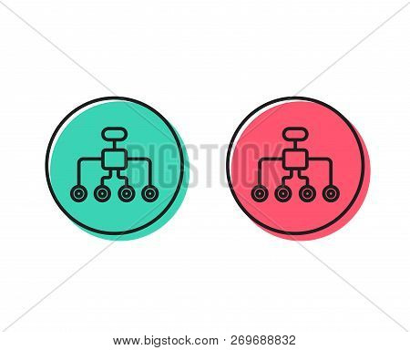 Restructuring Line Icon. Business Architecture Sign. Delegate Symbol. Positive And Negative Circle B