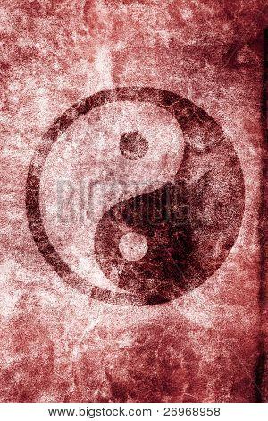 Grungy Yin Yang illustration