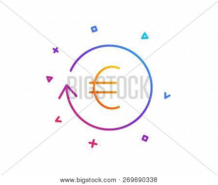 Euro Money Exchange Line Icon. Banking Currency Sign. Eur Cash Symbol. Gradient Line Button. Exchang