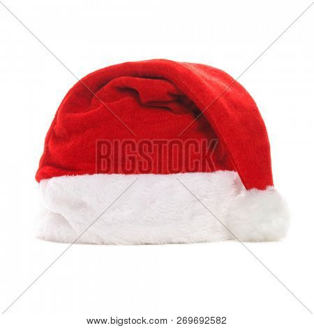 Santa hat isolated on white background. Happy xmas hollidays. Santa hat at studio. Christmas and winter concept.