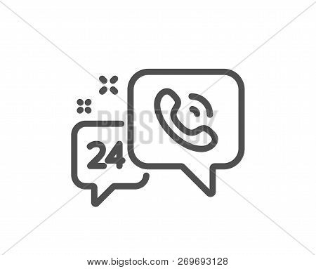 24 Hour Service Line Icon. Call Support Sign. Feedback Chat Symbol. Quality Design Flat App Element.