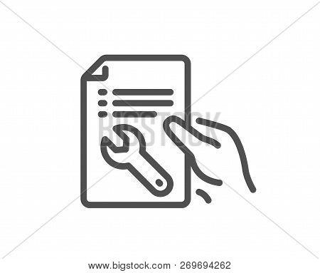 Spanner Tool Line Icon. Repair Service Document Sign. Fix Instruments Symbol. Quality Design Flat Ap