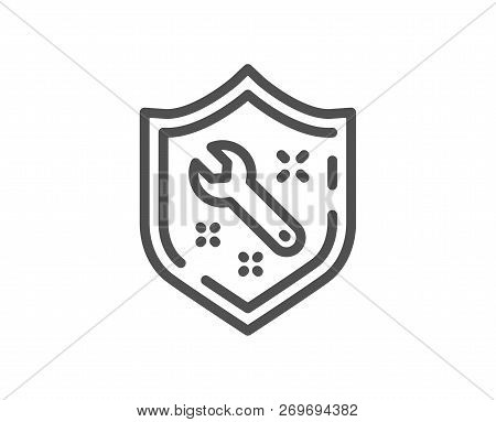 Spanner Tool Line Icon. Repair Service Sign. Shield Protection Symbol. Quality Design Flat App Eleme