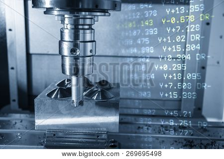 The  Abstract Scene Of Cnc Milling Machine And Nc Data.the Cnc Milling Machine Cutting The Mold Part