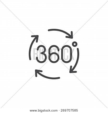 Angle 360 Degrees Outline Icon. Linear Style Sign For Mobile Concept And Web Design. 360 Degrees Arr