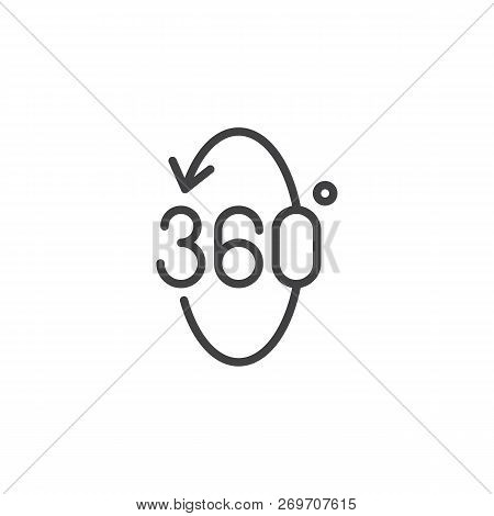 360 Degrees Arrows Outline Icon. Linear Style Sign For Mobile Concept And Web Design. Angle 360 Degr