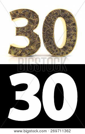 Golden Number Thirty (30 Years) On White Background With Pattern Style Zentangle, Drop Shadow And Al
