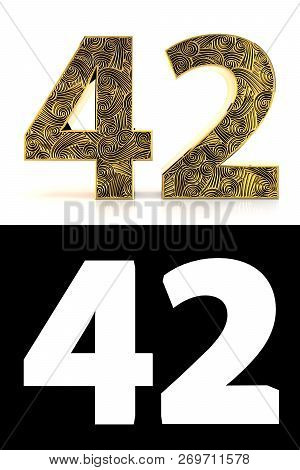 Golden Number Forty-two (42 Years) On White Background With Pattern Style Zentangle, Drop Shadow And