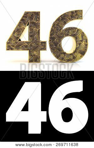Golden Number Forty-six (46 Years) On White Background With Pattern Style Zentangle, Drop Shadow And