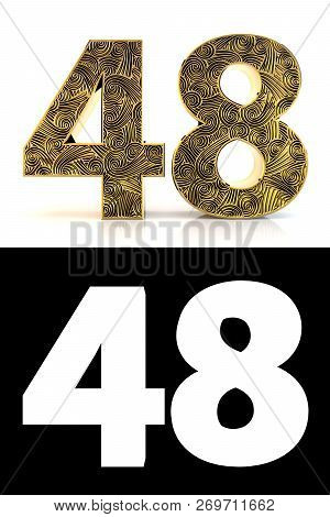 Golden Number Forty-eight (48 Years) On White Background With Pattern Style Zentangle, Drop Shadow A