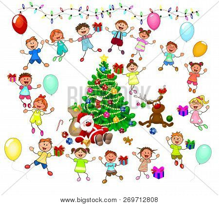 Joyful Little Children And Santa Near The Christmas Tree. Santa, Deer And Children Celebrate Christm