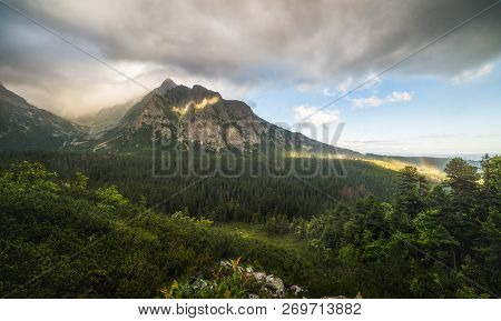Cloudy Mountain Landscape. Mengusovska Valley, High Tatras Mountains, Slovakia