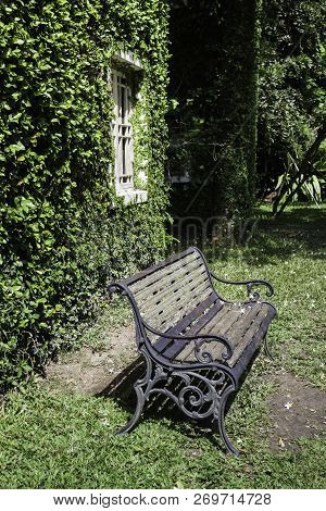 Bench And Ivy House In Local Resort, Stock Photo