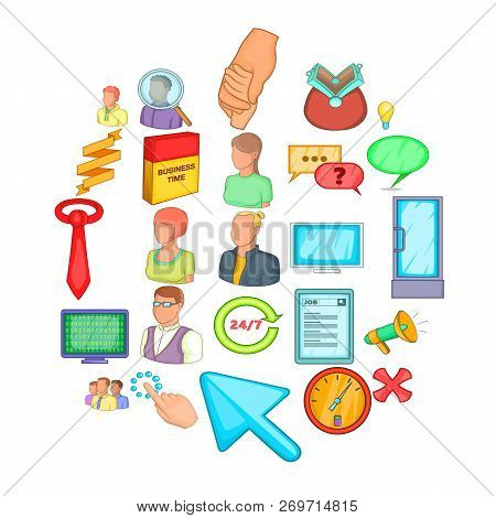 Business Cooperation Icons Set. Cartoon Set Of 25 Business Cooperation Vector Icons For Web Isolated