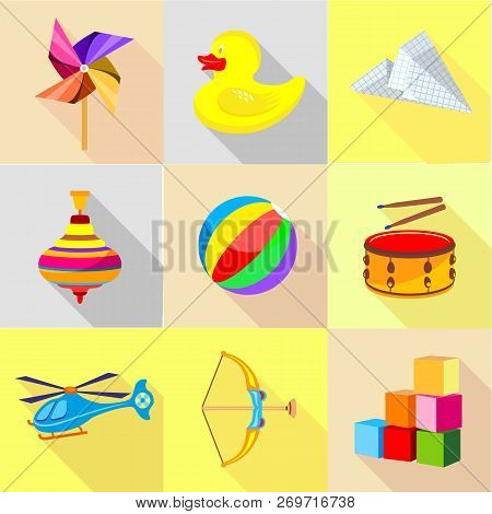 Miniature Icons Set. Cartoon Set Of 9 Miniature Vector Icons For Web Isolated On White Background