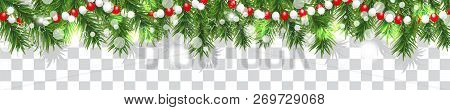 New Year And Christmas Border Garland Of Christmas Tree Branches And Beads On Transparent Background