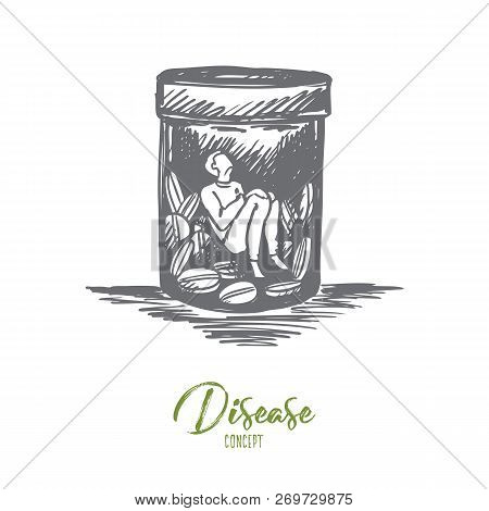 Painkiller, addiction, drugs, disease concept. Hand drawn man sitting inside of buttle with drugs or pills concept sketch. Isolated vector illustration. poster