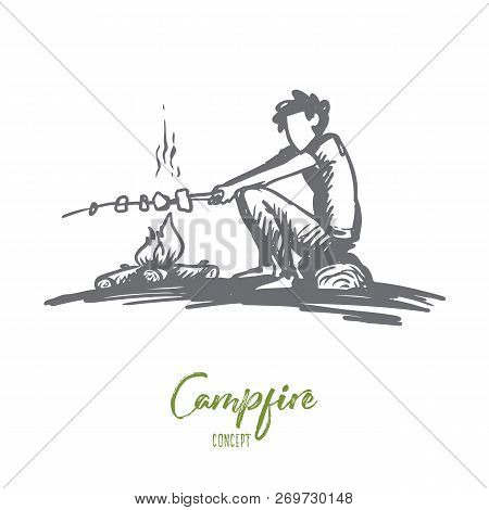Boy, Campfire, Summer, Rest, Scout Concept. Hand Drawn Boy Sits Near Bonfire And Roasts Marshmallows
