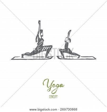 Mom, Daughter, Yoga, Family Concept. Hand Drawn Mother And Daughter Doing Yoga Exercises Together Co