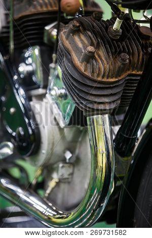 Iclose Up Shot Of V-twin Motorcycle Engine.
