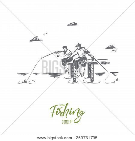 Fishing, Friends, Two, Vacation Concept. Hand Drawn Two Friends Fishing On River Bank Concept Sketch