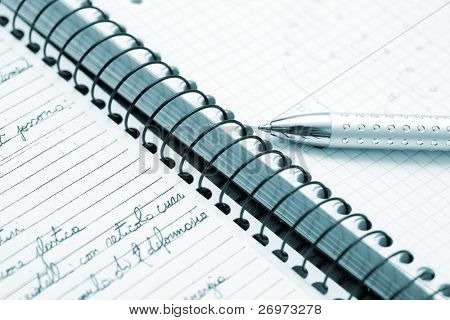 Blue toned paperwork image