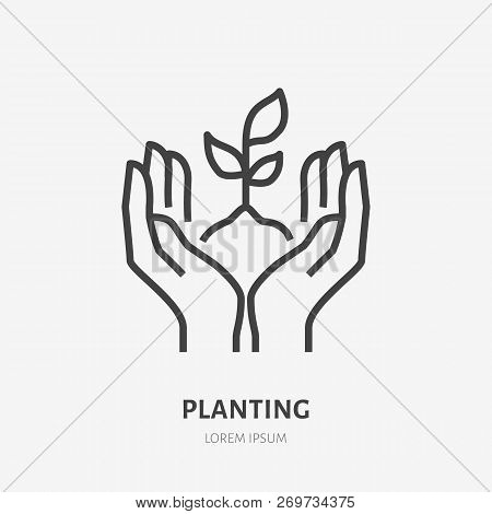 Hands Holding Soil With Plant Flat Line Icon. Vector Thin Sign Of Environment Protection, Ecology Co