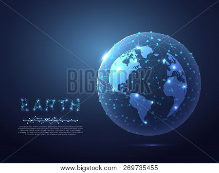 Abstract Image Of A Planet Earth View From Space. Vector Polygonal Globe In The Form Of Starry Sky,
