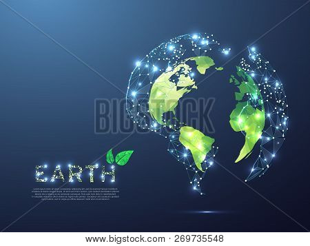 Green ECO planet Earth view from space. Low poly 3d illustration. Vector polygonal Ozone shield in the form of Globe with starry sky, consisting of points, lines, and shapes poster