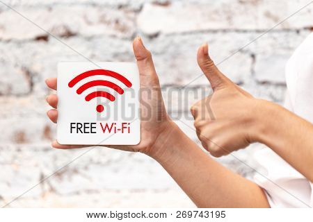 Free Wifi Sign Symbol Illustration Thumbs Up For Good Best And Safe Service Internet Access.