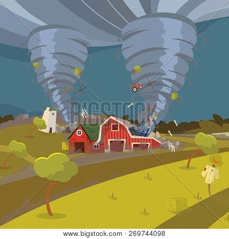 Vector Image Of A Hurricane Destroying The Village. Vector Illustration Of A Cartoon Whirlwind Hurri