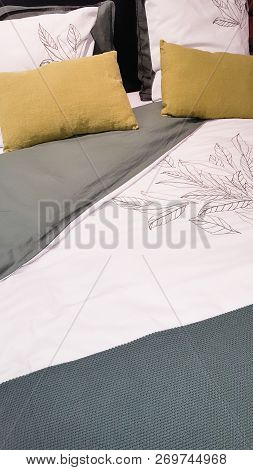 Bed And Pillow Set With Bed Runner In Home Bedroom