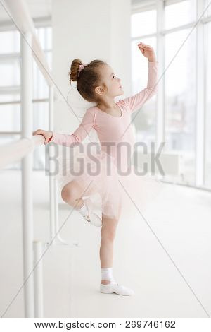 Little Cute Girl In Class In Ballet Studio.little Ballerina Girl In A Pink Tutu. Adorable Child Danc