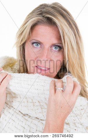 Portrait Of Beautiful Cute Blonde Mid Forties Woman Model In Casual Autumn White Sweater Clothes Iso