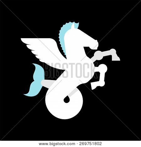 Sea Pegasus Heraldic Animal. Winged Horse With Fishtail. Hippocampus Fantastic Beast. Monster For Co