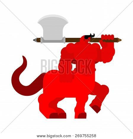Devil Centaur With Ax. Strong Angry Asmodeus. Militant Demon Big. Horned Satan. Powerful Beelzebub L