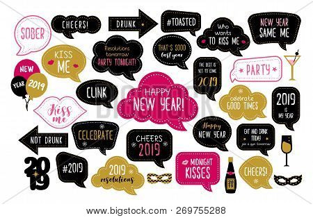 Happy New Year 2019 Photo Booth Props. New Year Eve Party. Photobooth Vector Set For Masquerade. Chr