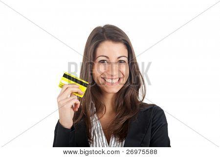 Woman holding isoliert auf weiss Kreditkarte