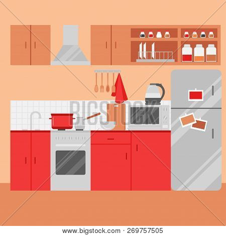 Flat Kitchen interior with furniture. Homely Room with stove, cupboard, microwave, dishes and fridge. Cooking equipment, tool, utensil and electronics poster