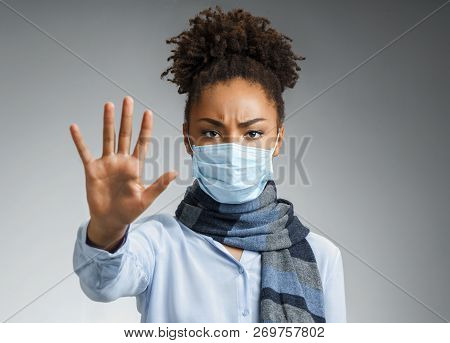 Stop The Infection! Healthy Woman Showing Gesture