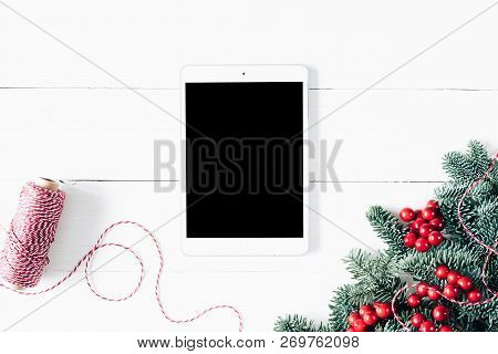 Christmas Composition With Tablet. Tablet Mockup. X-mas Card. New Year Card, Tablet Display Mockup.