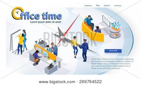 The Concept Of Company Time Management. Isometric Projection Of Banner Vector Illustration Of Workin