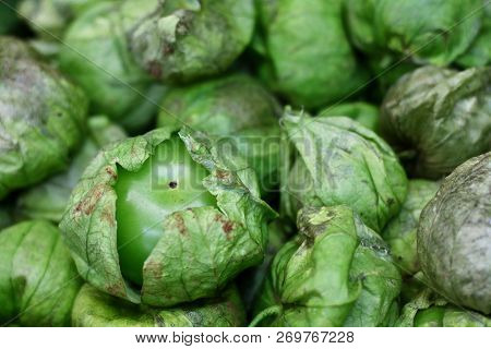 Fresh Tomatillo At A Mexican Market Used To Make Traditional Green Sauce