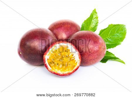 Closeup Passion Fruit On White Background, Fruit For Healthy Concept