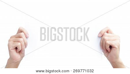 Hand Holding Blank White Paper For Advertise Text