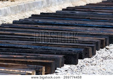 Cross Ties Of Unfinished Railway Track On Construction Site