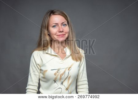 Emotional Woman. Smiling, Attractive Face Of Blonde Looking At The Camera. Portrait Of European Appe
