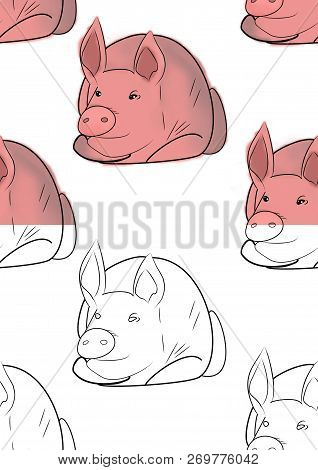 Simbol Of 2019 Year. Seamless Texture With Hog Close Up On Different Background. Sketch. Raster.desi