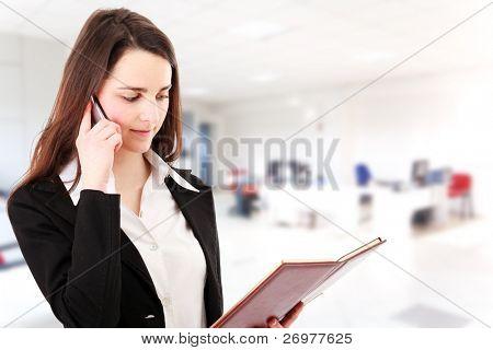 Giovane imprenditrice al telefono mentre la sua agenda di consulenza