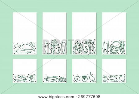 Vector Set Of Social Media Templates  Of Vegetables. Collection Of Veg In Doodle Style. Backgrounds